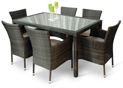 Cuba Six Person Dining Set With A Glass Top Table 2