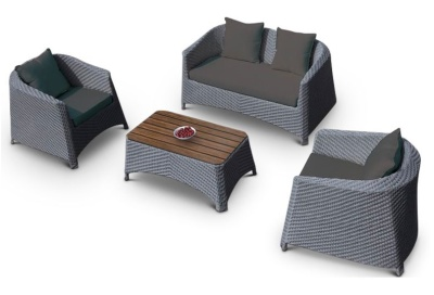 Majestic Weave Sofa Set With Dark Grey Cushions