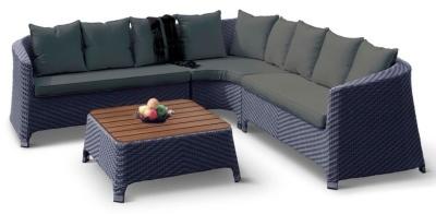 Majestic Rattan Corner Sofa Set With Dark Grey Cushions