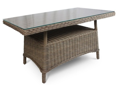 Houston Weave Table With A Glass Top