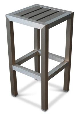 Western Brushed Aluminium High Stool