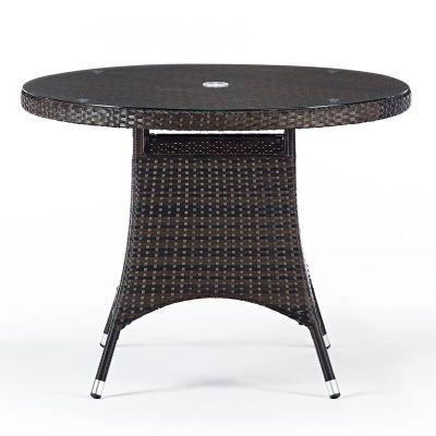 Osar Circular Outdoor Weave Table With A Glass Top
