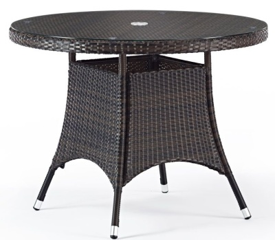 Oscra Ourdoor Weave Circular Table With A Glass Top