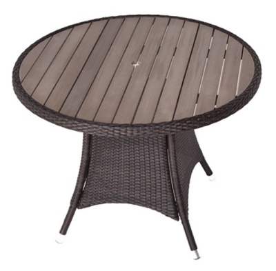 Orion Circular Outdoor Weave Table With Imitation Teak Top