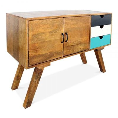 Josephine Credenza Angle Shot Teal Drawer