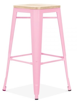 Xavier Pauchard Paastel Pink High Stool With A Wooden Seat 2