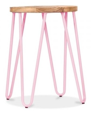 Hairpin Low Stool With A Pastel Pink Frame 1