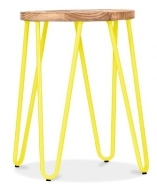 Hairpin Low Stool With A Yellow Frame 1