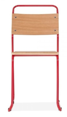 Bauhaus Industrial Chair Red Frame Front Shot