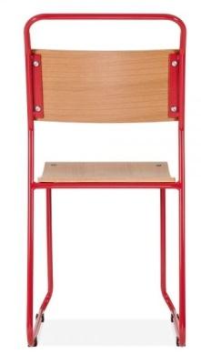 Bauhaus Industrial Chair Red Frame Rear View