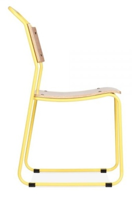 Bauhaus Industrial Chair Yellow Frame Side View