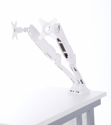 Consoyrt Dual Monitor Arm In White