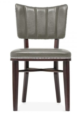 Chiocago Grey Leather Dining Chaqir Front View