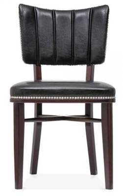 Chicago Black Leather Dining Chair Front View