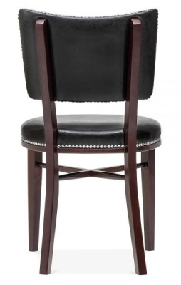 Chicago Black Leather Dining Chair Rear View
