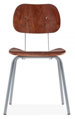 Dice Dining Chair In Walnut With A Grey Frame Front View