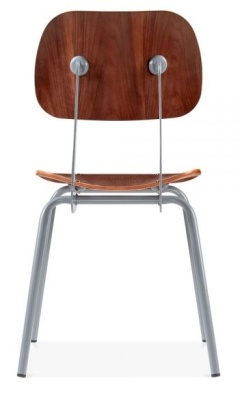 Dice Dining Chair In Walnut Yuwith A Grey Frame Rear View
