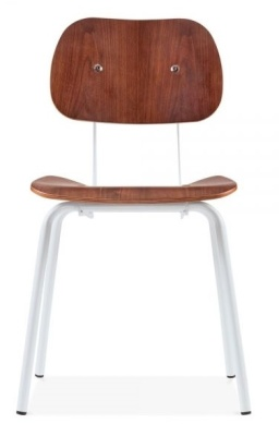 Dive Chair In Walnut With A White Frame Front Facing