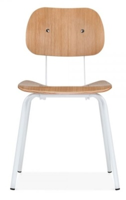 Dice Chair With A Natural Seat And Back And White Frame Front View