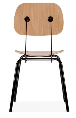 Dice Chair With A Natural Seat And Back And Black Frame Rear View
