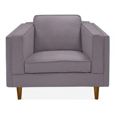 Eddie Single Seater Designer Sofa In Smokey Grey Fabric