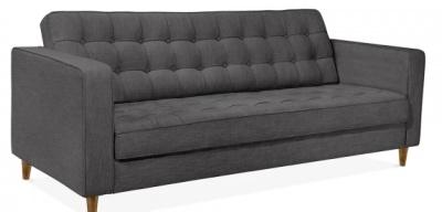 Gustav Three Seater Sofa Front Angle Dark Grey Fabric