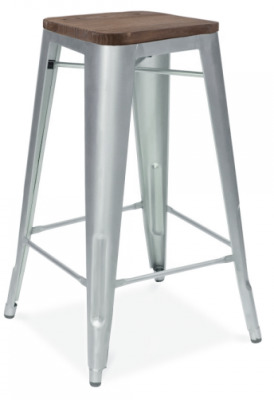 Xavier Pauchard Stool With A Galvanised Finish And Wooden Seat Pad 2