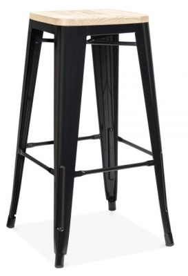 Xavvier Pauchard High Stool In Black With A Natural Wood Seat 2