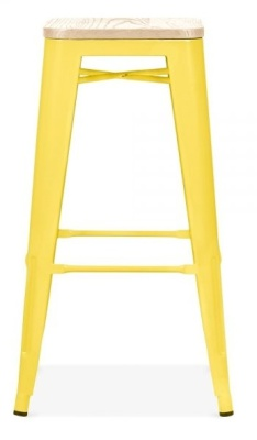 Xavier Pauchard High Stool In Yellow With A Wooden Seat 2
