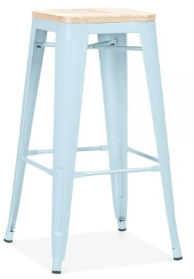 Xavier Pauchard High Stool In Pastel Blue With A Wooden Seat 1