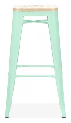 Xavier Pauchard Stool In Peppermint Green With A Wooden Seat 1