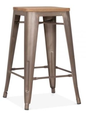 Xavier Pauchard 650mm High Stool With A Woodenm Seat And A Vintage Finish 2