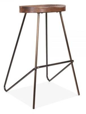 Cadiz High Stool With A Wioooden Seat And Gun Metal Frame