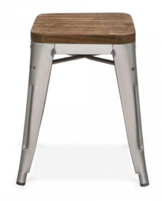Xavier Low Stool With A Gun Metal Finish And Wooden Seat Pad 2