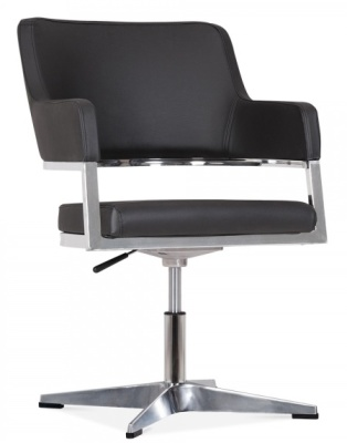 Polar Chair In Black Leather Front Angle
