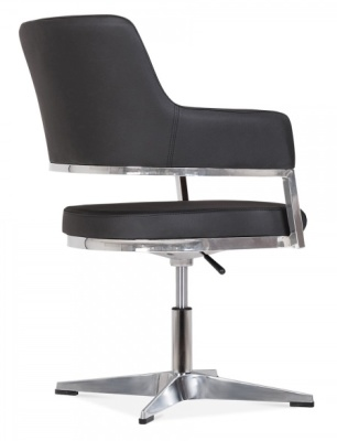 Polar Chair In Black Leather Rear Angle