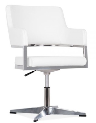 Polar White Leather Conference Chair Front Angle