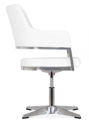 Polar White Leather Conference Chair Side View