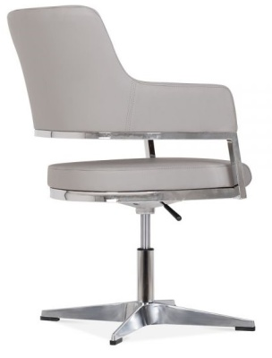 Polar Grey Leather Conference Chair Rear Angle