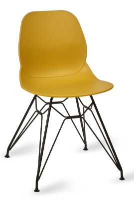 Mackie Pyramid Chair Mustard Shell Black Frame