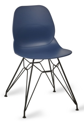 Mackie Pyramid Chair Navy Shell Black Frame