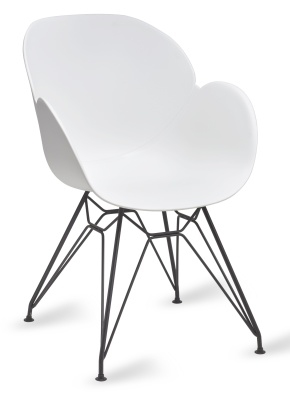Mackie Pyramid Armchair With A White Shell And Black Frame