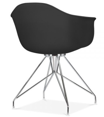 Memot Designer Chair With A Black Shell And Chrome Frame Rear Angle