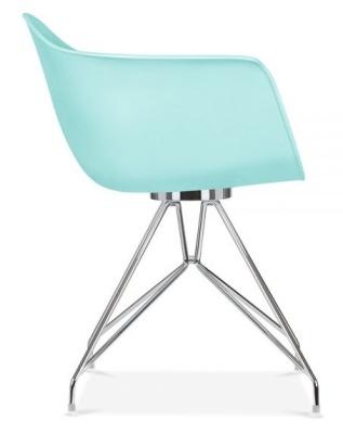 Memot Designer Chair With A Light Blue Shell Side View