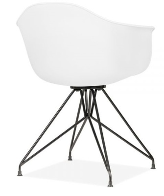Memot Chair With A White Shell And Black Frame Rear Angle