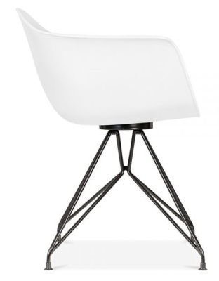 Memot Chair Witha White Shell And Black Frame Side View