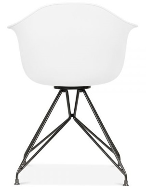 Memot Chair With A White Shell And Black Frame Rear View