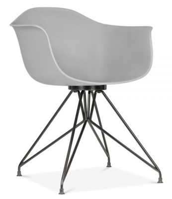 Memot Chair With A Grey Shell And Black Frame Front Angle