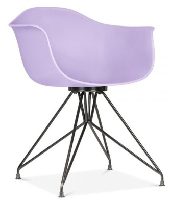 Memot Chair With A Lavender Shell And Black Frame Front Angle View