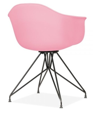 Memot Chair With A Pink Shell And Black Frame Rear Angle